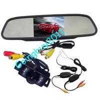 "Car Camera   4.3"" Car LCD Mirror Monitor Kit + Wireless 7 LED IR Waterproof Car Reversing Camera Free Shipping"
