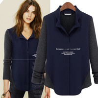 Casual Women Polyester 2013 New Fall Full Sleeve Stand Collar Fleece Patchwork Chiffon Navy Blue Ladies Shirts Womens Tops