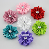 Wholesale satin ribbon flower with Acrylic drilling center DIY Multilayers flower head Girl s hair Accessories