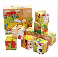 Wholesale Jessie store Children Wooden D Cartoon Animal Puzzle Toys Sides Wisdom Jigsaw Educational Toys Parent Child Game