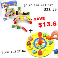 Wholesale Jessie Store Wooden Blocks Pieces Changeable Nut Building Blocks Wooden Shape Sorting Clocks Baby Educatinoal Toys