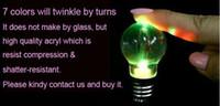 Wholesale Novelty LED Light Bulb Shaped Ring Keychain Flashlight Colorful Mini lights Lamp