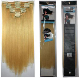 Wholesale New Brazilian Virgin Hair Clip In Remy Human Hair Extensions g set Golden Blonde set