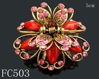 Wholesale vintage hair jewelry zinc alloy rhinestone Butterfly hair claw hair clips Hair Accessories mixed color FC503