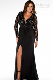 Wholesale 2016 Plus Size Special Occasion Dresses Black V Neck Long Sleeve Lace Satin Prom Evening Gown