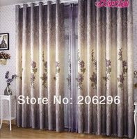 Wholesale bedroom balcony Pleated finished curtain blackout ready made Chinese rural style flowers peony Punching Hooks Eyelet Panel