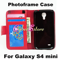 For Samsung S4 mini Photoframe Wallet Flip PU leather Case Cover With Credit Card Slot Slots Pouch for Galaxy S4 mini I9190
