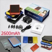 0-20 W For Cell Phone No Solar Battery Chargers 2600mAh Portable USB Solar Energy Panel Power Bank For Mobile Phone PAD Tablet MP3 MP4 With Retails Box