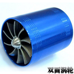 Free shipping F1-Z Supercharger Turbo Air Intake Fuel Saver Fan w/ Double Propeller - Blue high quality