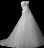 Wholesale New A line gown with soft sweetheart neckline and corset closure Strapless Tulle Wedding Dresses