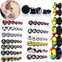 Wholesale 72pcs Assorted Guage Punk Acrylic Screw Ear Flesh Tunnel Ear Plugs Expander Stretcher Body Jewelry Mix Colors BC87