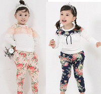 Wholesale 2pcs new girls fashion outfits kids long sleeve T shirt pants sets children lace flowerr suits baby autumn clothing pink blue fxygmy