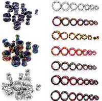 Wholesale 42pcs Acrylic Double Flare Hollow Ear Plugs Tunnels Earlets Gauges Piercings Body Jewelry Mix Colors BC88