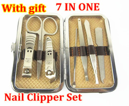 Wholesale low price in Stainless Steel Manicure Pedicure Ear pick nail Clipper Grooming Kit Set with leather case XH351 free by fedex