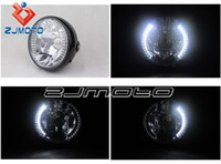Wholesale Round quot Black H4 w Halogen Headlight With White LED Halo Turn Signal M8 Side Mount Universal Motorcycle
