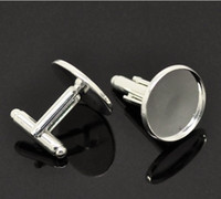 Wholesale Freeshipping high quality sterling silver cufflink base cufflink blank cufflink size18mm