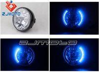 "Cheap New Motorcycle Round 7"" Black H4 35w Halogen Headlight With BLUE LED Halo Turn Signal For YAMAHA YBR125 YBR 125 2002-2013 08 09"