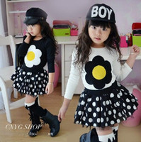 Wholesale girls sunflower T shirts children fashion long sleeves primer shirt autumn clothing kids lovely tops white black dkagmy