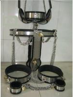 Female female chastity device - Female Adjustable T type steel chastity belt Thigh Cuff bra collar handcuff in set chastity device set colors