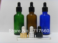 Wholesale 6Pcs ml Amber Cobalt Blue Green Glass Dropper Bottles Empty New For Essential Oil Cosmetic serum Packing Storage containers