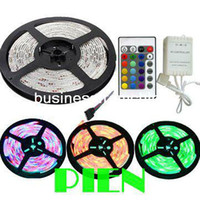 Wholesale RGB LED Strip Light Flexible LED M SMD waterproof Ribbon Tape Outside Lamp DC V IR Controller set