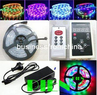 Wholesale Dream color LED Strip light RGB Magic intelligent LED M Program RF Controller A Power supply FreeShipping set