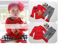 Wholesale Lace Ruffles Girls Clothing - 2017 halloween Christmas baby Ruffled Lace T-shirt ruffled pants girls 2pc set baby baby winter clothes outfits set
