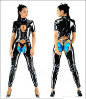 Bodysuits Firm Faux Leather Wholesale sexy LINGERIE NEW SEXY PVC LEATHER LOOK CATSUIT Jump suit CLUBWEAR COSTUME DRESS BONDAGE Underwear Corset AM18 SIZES S--XXL