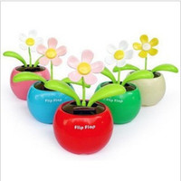 solar dancing flower - Pieces Novelty Toys Car Decor Flap Flip Solar Powered Flower Flowerpot Swing Solar Dancing Toy Ornaments