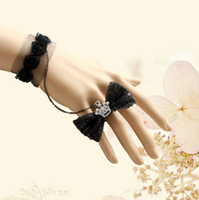 Alloy Non-Stone Bracelets Bridal bracelets rings Black Lase Crown Bow style Bridesmaids jewelry Wedding Accessories Christmas Gift LKWS-187