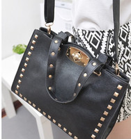Wholesale 2013 Korean style Vintage Rivet bag handbag shoulder bag tote message bag