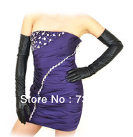 Wholesale 60cm quot long real leather evening gloves black