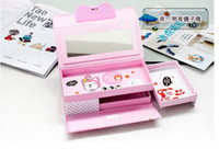 Wholesale Pencil Cases Multifunctional lock three layer stationery box stationery box three shelves iron pencil box