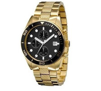 gold - 100 Authentic AR5857 Black dial Gold Stainless steel strap Mens Chronograph Original Box And Certif