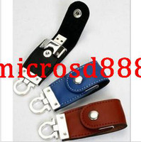 Wholesale Sufficient quantity u disk G special offer real leather USB Keychain Business Gifts U disk u disk print LOGO
