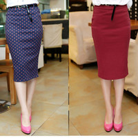 Cotton Mid_Calf  New Autumn Candy color Ladies Pencil Skirt High elastic cotton skirts pockets hip Slim Fashion Skirts Wave point dot OL Work Skirts K0003#