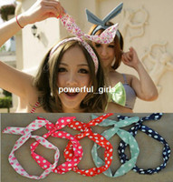 Fashion Hairwear Trendy Free Shipping Candy Color Chiffon Rabbit Ear Headbands Hair bands Hair Ornament Accessories wholesale