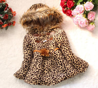 Wholesale Elegant Boutique Clothing For Girl Faux Fur Collar Children Clothing Stereo Flower Belt Coat Leopard Outwear Kid Long Sleeve Clothes1849