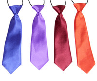 Wholesale 100 Boys Girls Childs School Satin Elastic Neck Tie Ties Wedding Prom Childrens Kid