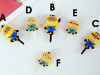 Wholesale Despicable me ME Anti dust dust Cute cartoon Earphone ear cap mm Stopper cover for Samsung galaxy S3 S4 Iphone C S