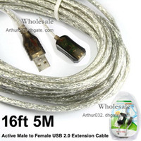 Wholesale 30PCS ft M Active Male to Female USB Extension Cable for Computer Laptop PC Netbook Notebook Google Android Smart PC Tablet