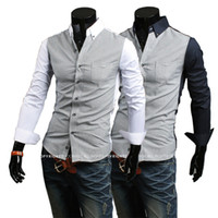 Wholesale Special autumn new hit color thin Houndstooth minimalist atmosphere casual men s shirts Korean Slim shirt