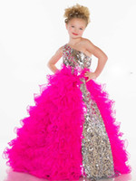 Portrait Beads Organza 2014 New Arrival beaded little kids One Shoulder Ruffled Formal Pageant Dress Mac Duggal 42877S Flower Girl Dresses