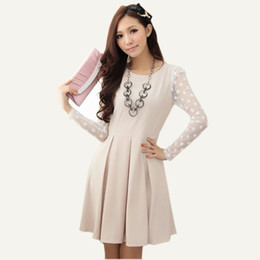 Wholesale 2014 new fashion women s clothes dresses Korean slim long sleeved dress lace short dress Winter Net veil dot