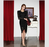 Top Fashion Black V- Neck Puff Sleeve Vintage Asymmetrical He...