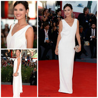 Other Sleeveless Floor-Length Newest Virginie Ledoyen 2013 70th Venice Red Carpet Celebrity White Grecian Goddess Simple Long Beach Bridal Evening Wedding Party Dresses