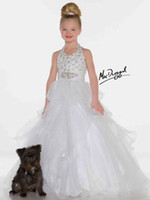Wholesale Hot New Arrival beaded little kids Hlater Sugar Glitz White Pageant Dress Flower Girl Dresses mac14
