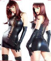 Wholesale SEXY lingerie Black PVC Sexy O Rings Catsuit Clubwear Dress Outfits Fancy Dress amp gloves one size