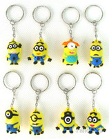 Wholesale Despicable Me Minion Action Figure Keychain Keyring Key Ring Design Cute Promotion Gifts New Arrival Hongkong Post