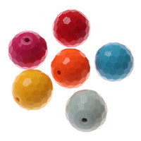 Acrylic, Plastic, Lucite 20mm acrylic beads - Chunky Beads Solid Mixed color Acrylic Faceted beads mm